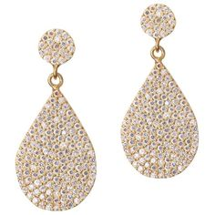 GOLD DROP EARRING WITH PAVE PEAR ($135) ❤ liked on Polyvore