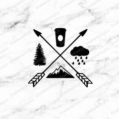 PNW/Pacific Northwest Decal - Evergreen Tree, Coffee Cup, Rain Clouds, Moutain, Two Arrows follow www.instagram.com/whipsnbikechains we feature all the #hottestCars and Car King Collectors in the World. Follow everyone on our list!!!