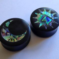 """Abalone Sun and Moon Inlay on Ebony Plugs PAIR 0g (8mm) 00g (9mm) (10mm) 7/16"""" (11 mm) 1/2"""" (13 mm) 9/16"""" (14 mm) 5/8 (16 mm) Ear Gauges"""