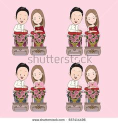 Thai wedding vector cartoon in blessed water traditional ceremony with happy face. การ์ตูนบ่าวสาว, ชุดไทย, รดน้ำสังข์, การ์ตูน Free Time, My Books, Thailand, Blessed, Family Guy, Horses, Cartoon, Comics, Logos