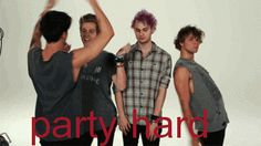 Calum:I'm a squid Michael:Hi I'm Michael Ashton:Who's sexy I'm sexy Luke: I'm a penguin I don't dance