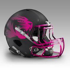 Mizzu concept breast cancer awareness Pink Helmet, Black Helmet, College Football Helmets, Go Pink, Helmet Design, Cancer Awareness, Missouri, Breast Cancer, Tigers