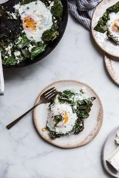 garlic ginger collard & egg skillet with feta