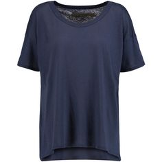 ENZA COSTA Cotton-jersey T-shirt ($55) ❤ liked on Polyvore featuring tops, t-shirts, blue, side slit top, blue top, blue t shirt, enza costa tee and blue shirt