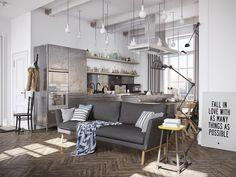 Very cool industrial modern inspired kitchen rendering | Murmansk Apartment | CGI Artist Denis Krasikov