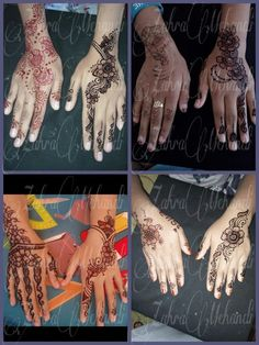 Perbedaan henna yang sudah profesional dan yang belum ,, Sebelah kanan henna by zahramehandi Sebelah kiri henna art lain