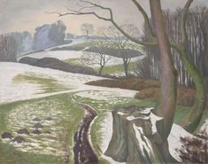 John Northcote Nash R. (British, Winter Landscape signed 'John Nash' (lower left) oil on canvas x 87 cm. x 34 in. John Nash, English Artists, British Artists, Landscape Artwork, Winter Landscape, Dark Landscape, Post Impressionism, Fine Art, Love Painting