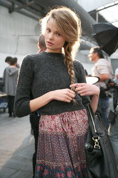 skirt, sweater + braid #streetstyle