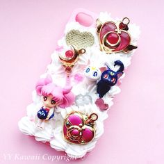Custom Die cast Sailor Moon Charms Kawaii Decoden Phone Case for Iphone 4/4s, 5/5s/5c, Samsung Galaxy S2, S3, S4 or Ipod Touch, HTC One X