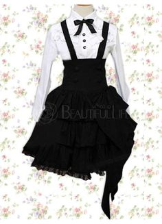 White And Black Cotton Turndown Collar Long Sleeves Suspender Lolita Outfit With Bow