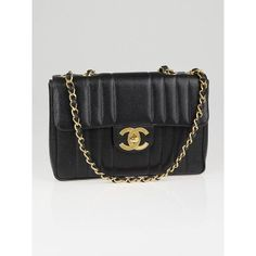 Chanel Vertical Stripe Black Quilted Caviar Leather Jumbo Flap Bag