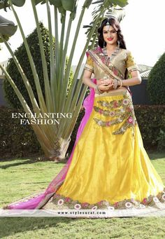 Attractive Yellow Color Net Fabric A-Line Lehenga Choli
