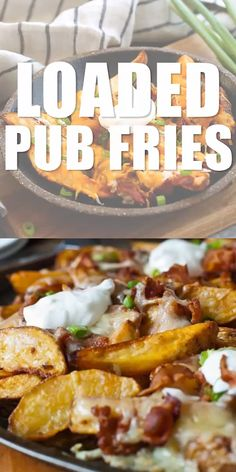 Pub Fries Loaded Pub Fries - Make these easy cheesy bacon and potato appetizer for your next party!Loaded Pub Fries - Make these easy cheesy bacon and potato appetizer for your next party! Potato Appetizers, Appetizer Recipes, Dinner Recipes, Dinner Menu, Easter Recipes, Pub Recipes, Fish Recipes, Bread Recipes, Snacks Für Party