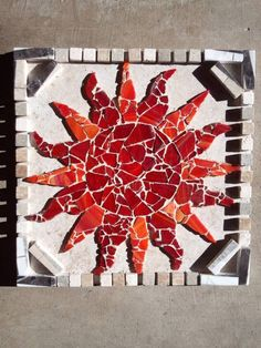 Arizona Heat This gorgeous Mosaic is created with love of the Hot Arizona Desert. Done is shades of Orange and Red Stained Glass, with Marble Tiles around the corners and sandstone bordering. The artist has done an amazing job of capturing Arizona's beauty in this piece.