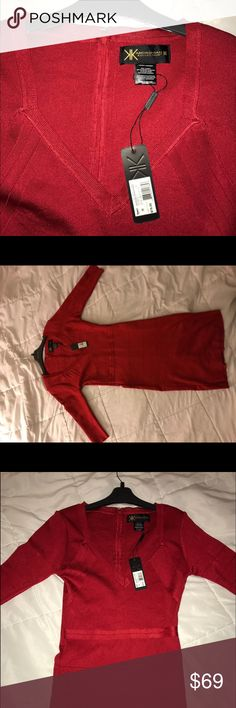 Brand New Kardashian Kollection Dress New with tags, sexy but elegant red Kardashian Kollection bandage dress. Never been worn but ready to be worn by you! Kardashian Kollection Dresses Midi