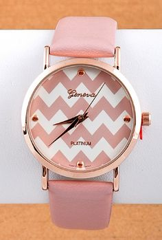 Pink https://sincerelysweetboutique.com/shop-collections/pink.html #pink #thinkPink #sincerelysweet - Watch - Perfect Timing Chevron Pattern Face Dust Pink Watch