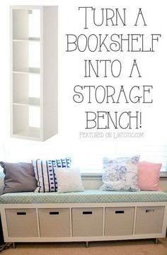 20 Creative Furniture Hacks :: Turn a bookshelf into a cute storage bench! 20 Creative Furniture Hacks :: Turn a bookshelf into a cute storage bench! 20 Creative Furniture Hacks :: Turn a bookshelf into a cute storage bench! Home Decor Ideas, Home Decor Hacks, Bookshelf Storage, Table Storage, Bookshelf Bench, Storage Benches, Simple Bookshelf, Garage Storage, Storage Bins