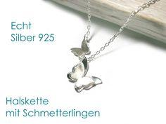 Silberkette mit Schmetterlingen, Länge der Kette 42 cm, Material der Kette Echt Silber 925