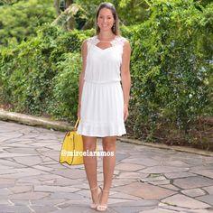 Look de trabalho - look do dia - look corporativo - moda no trabalho - work outfit - office outfit - spring outfit - look executiva - Summer outfit - vestido Branco - White dress - bolsa amarela - yellow