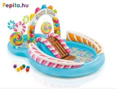 Add some sweetness to your backyard play with this Intex Candy Zone Pool / Play Center! Pool Play, Backyard Play, Water Play, Water Toys, Pool Water Slide, Water Slides, Kids Swimming, Swimming Pools, Pool Activities