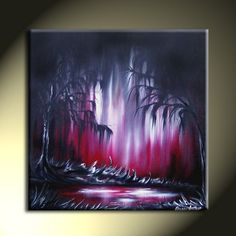 SALE OOAK Enchanting Abstract Landscape Red White by sherryarthur, $135.00