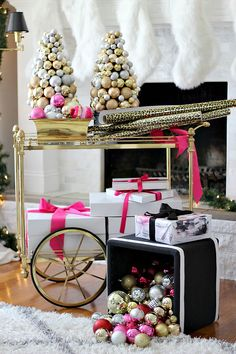 Pink, gold, black, and glam holiday and Christmas decor.