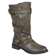 Womens Bamboo By Journee Round Toe Buckle Detail Boots
