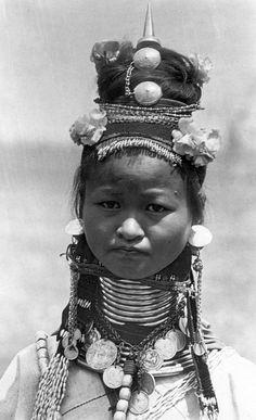 Myanmar / Burma | Padaung girl.  Shan State | Vintage photographic print