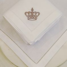 Beautiful embroidered napkins with crown detail choose any monogram or initial,and a wide selections of coloured silks to choose from please visit my etsy online shop nbloveyourhome or visit my website