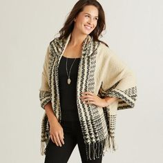 One of my favorite discoveries at WorldMarket.com: Ivory and Black Ruana Hoodie