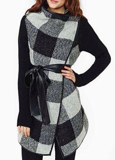 Chic Plaid Design Long Sleeve Coat with Mandarin Collar
