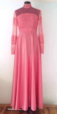 1960/1970's Pink Sheer Empire Lace Victorian Maxi Dress/Gown-Evening/Bohemian/Prom/Bridesmaid on Etsy, $65.00