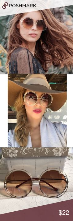 2018 Trend Alert 🚨🆕🏖😎 Big circle round frame This is a BRAND NEW pair of BIG circle, round frame sunglasses. Now trending 2018 style.  Measurements in pics.  Buy with confidence I am a Posh Ambassador, top rated seller, mentor and fast shipper.  Don't forget to bundle and save.  Thank you. Accessories Sunglasses