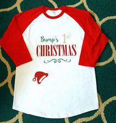 SALE Monogrammed Raglan Bump's First Christmas Shirt Ladies Raglan Tshirt Christmas Gift Baby 3/4 Length Sleeve Raglan Shirt Red Sleeves by WhiskersnStitches on Etsy