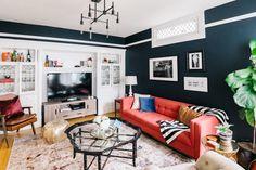 Déjà Blue: This San Francisco Living Room Gets a Makeover Julia Goodwin's Revamped Living Room Tour Red Couch Living Room, Red Living Room Decor, Living Room Furniture, Red Leather Couches, Red Sofa, Red Couches, Living Room Inspiration, Decoration, Design