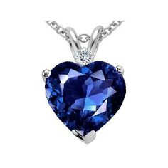 Blue Sapphire and Diamond heart pendant