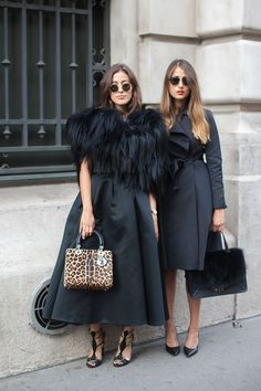 Street style friends. Double black magic at Paris Fashion Week Spring 2015 #pfw