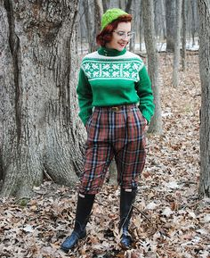 Innsbruck pullover, knit from 1956 Bernat Handicrafter pattern, with plaid 1950s pants | By Gum, By Golly