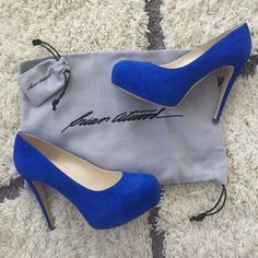 Brian Atwood Maniac 120 Blue Suede Pre-loved Brian Atwood maniacs. Size 37. I think his pumps are one of the most comfortable to wear.  Great for a wedding shower or even your wedding shoes for fun! These are in excellent condition, worn only twice. Will come with dust bag, box, and extra heel taps. Brian Atwood Shoes Heels