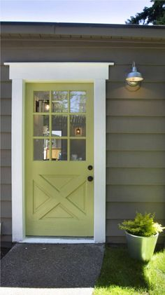 Painting our house gray & white this summer already, but what about bright green for the doors? Exterior House Colors, Exterior Doors, Exterior Paint, Exterior Design, Exterior Trim, Garage Exterior, Garage Entry, Exterior Stairs, Cottage Exterior