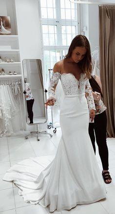 long sleeves wedding dress, white wedding dress, 2018 white mermaid long wedding dress with train, bridal gown
