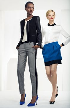 Vince Camuto Contrast Trim Blouse, Double Layer Skirt, Faux Leather Jacket, Scoop-neck Tee, & Houndstooth Pants #Nordstrom #AugustCatalog