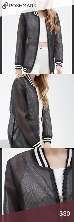 Forever 21 Organza Bomber Sheer organza varsity jacket. Slightly oversized fit, zipper closure. Chic piece that looks expensive! Excellent condition, never worn. 3rd pic is just styling suggestions, not the same jacket! Final Price. Forever 21 Jackets & Coats