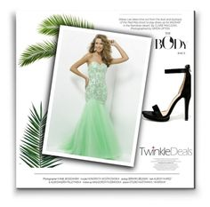 Mermaid Strapless Sleeveless Tulle Prom Dress With Beaded by johnnymuller on Polyvore featuring Wild Diva, Nika and Kershaw