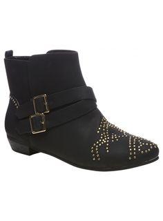 Black Studded Flat Boots £24.99 #pinternacionale