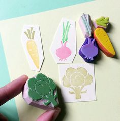 VEGETABLE SETHand Carved Rubber Stamp Carving Stamp by KeiWorkshop