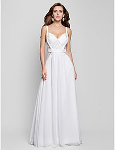 TS Couture® Formal Evening / Military Ball Dress - Open Back Plus Size / Petite A-line / Princess V-neck Floor-length Chiffon with Beading / Draping