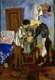 Bathing of a Baby, 1916, Marc Chagall Size: 53x44 cm Medium: tempera on paper