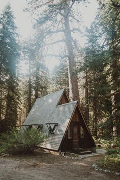 "misskim: ""I think there are so many of us who dream of living in a tiny A frame in the middle of a national park like this one. I hope your dreams come true. (at California) "" Tiny House Cabin, Tiny House Design, Cabin Homes, A Frame Cabin, A Frame House, Cozy Cabin, Cozy Cottage, Cabins In The Woods, House In The Woods"