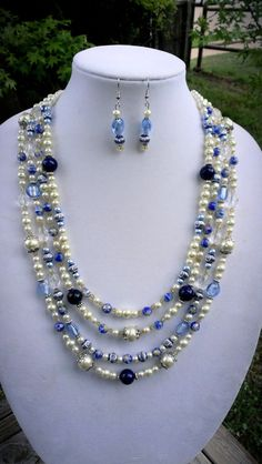 4 Strand Necklace & earring set with varoius by jewelMom1965, $48.00